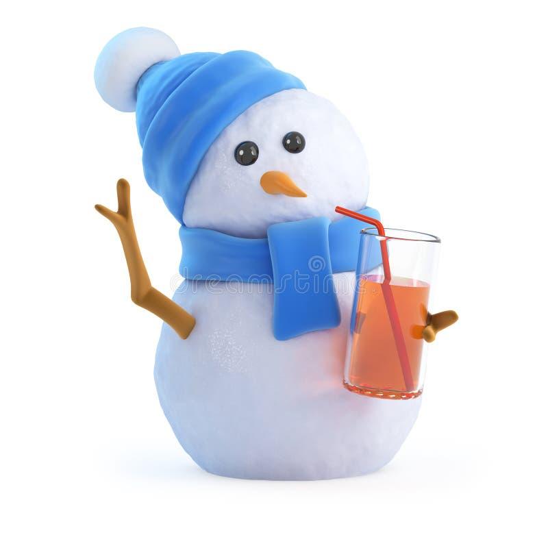 пить снеговика 3d на партии иллюстрация вектора