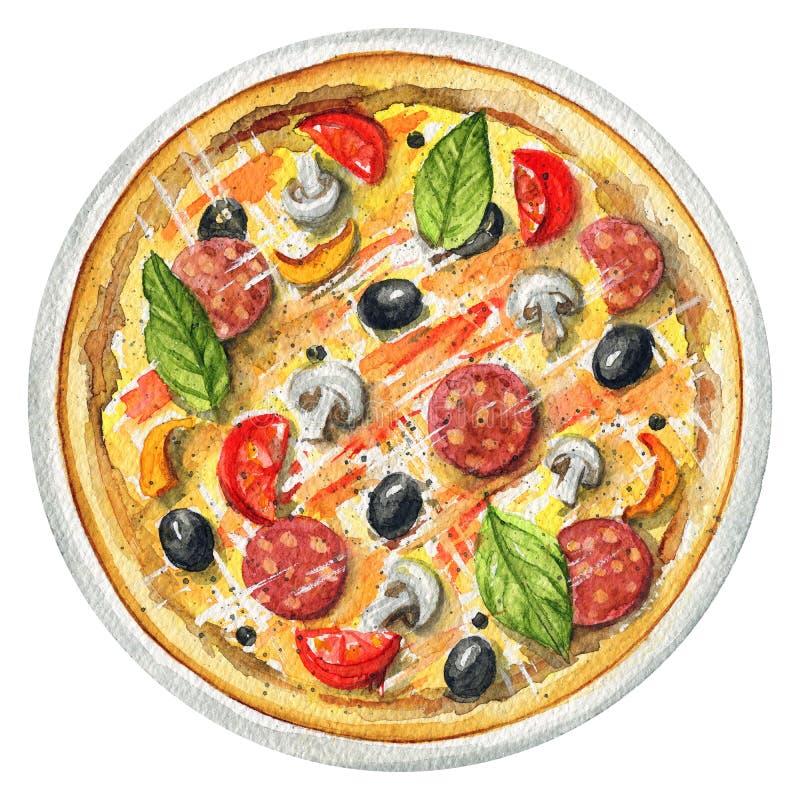 Пицца акварели на плите с грибами, салями, оливками и c бесплатная иллюстрация