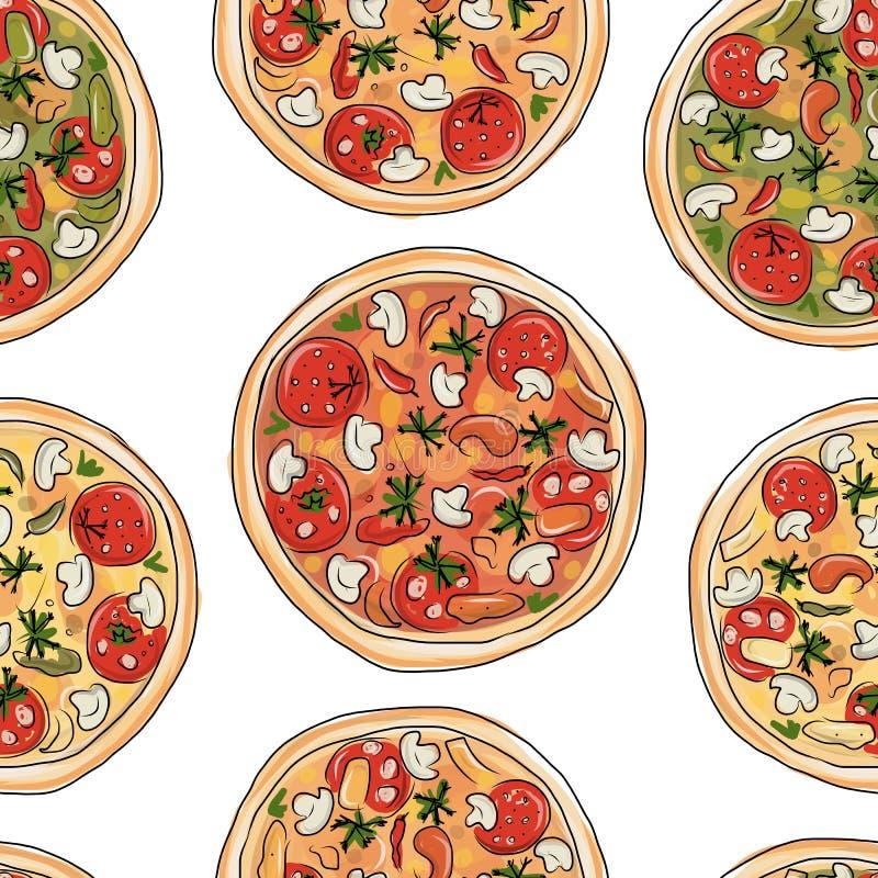 Пицца, безшовная картина для вашего дизайна иллюстрация штока