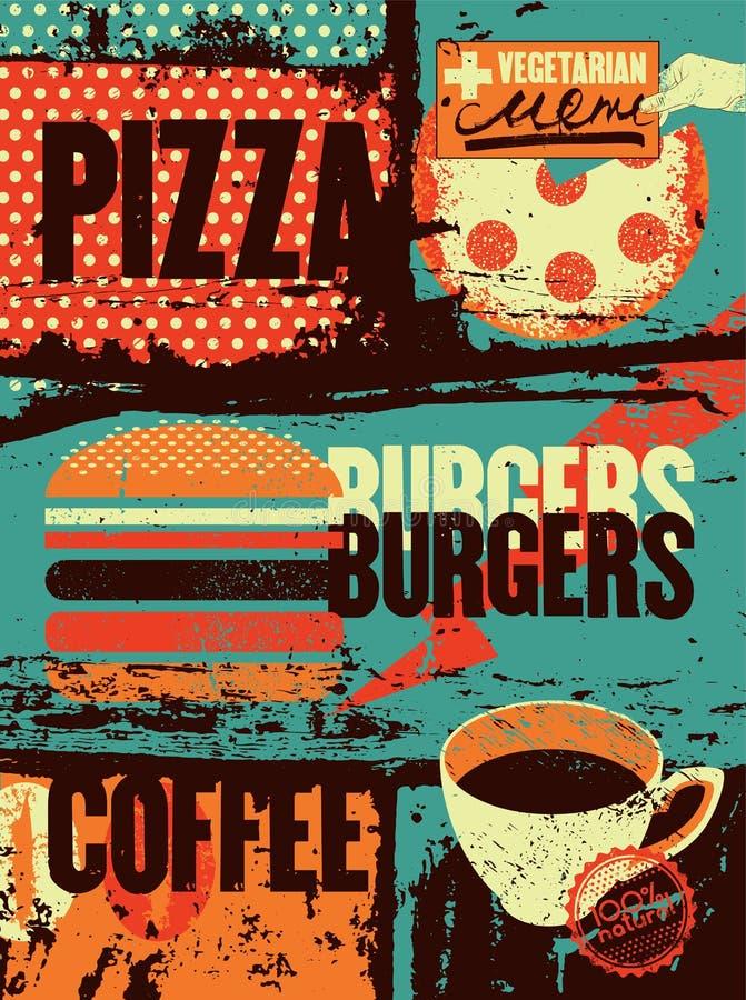 Пицца, бургеры, кофе Типографский винтажный плакат grunge для кафа, бистро, пиццерии вектор иллюстрации ретро бесплатная иллюстрация