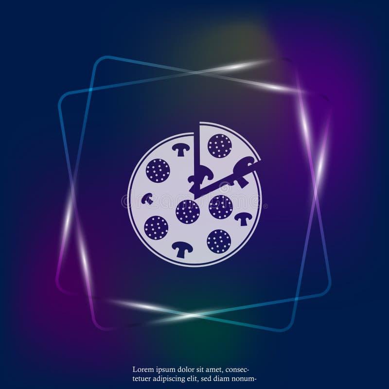 Пицца изображения неонового света вектора Символ фаст-фуда Кусок ` s пиццы бесплатная иллюстрация