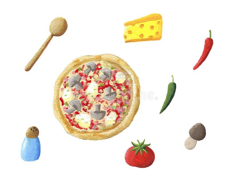 Пицца и ингридиенты иллюстрация штока