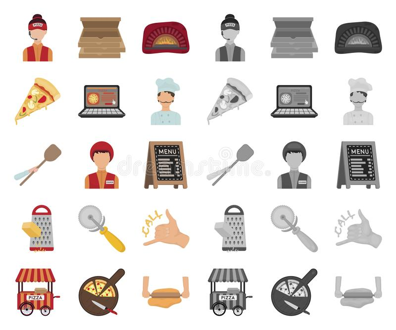 Пицца и мультфильм пиццерии, mono значки в установленном собрании для дизайна Сеть запаса символа вектора штата и оборудования бесплатная иллюстрация