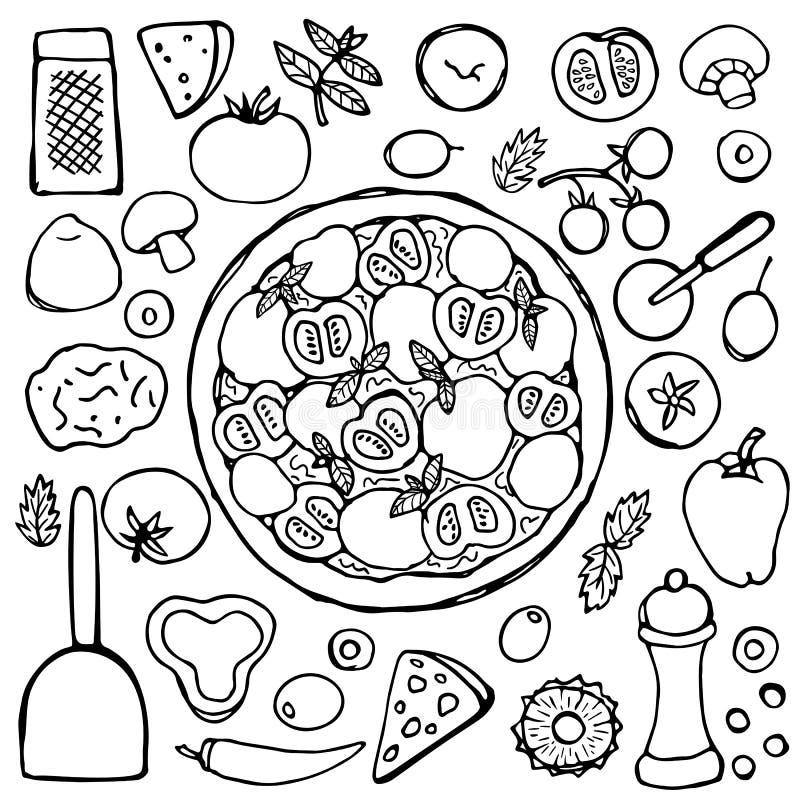 Пицца нарисованная рукой вегетарианская иллюстрация штока
