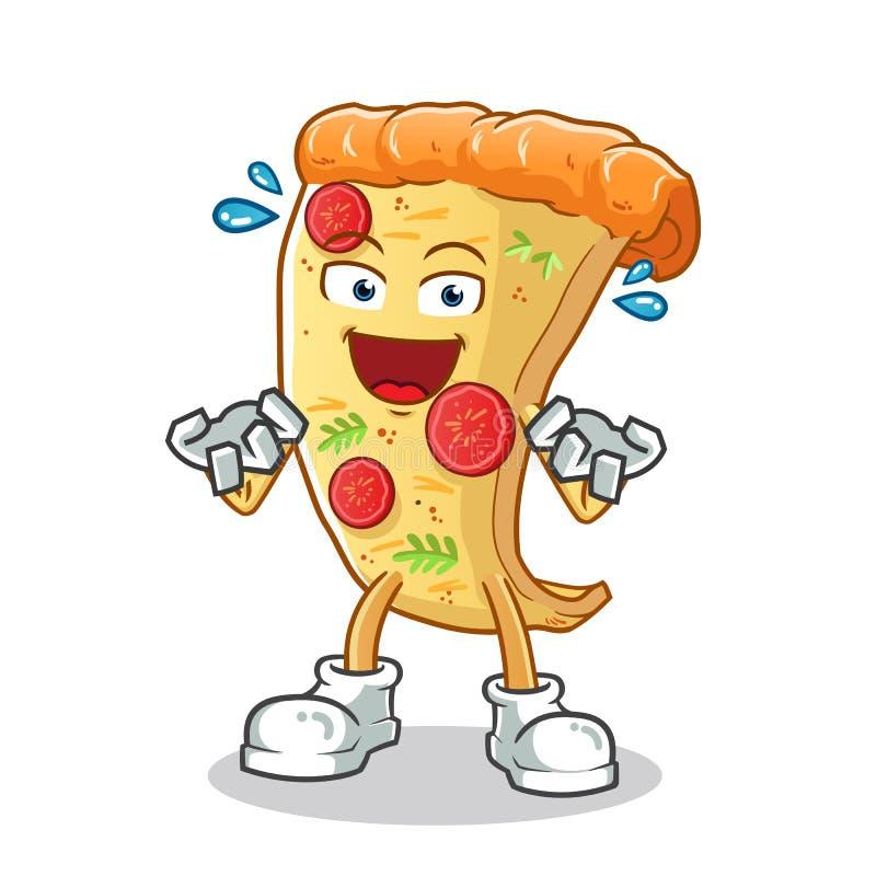 Пицца очень возбудила иллюстрацию мультфильма вектора талисмана иллюстрация штока