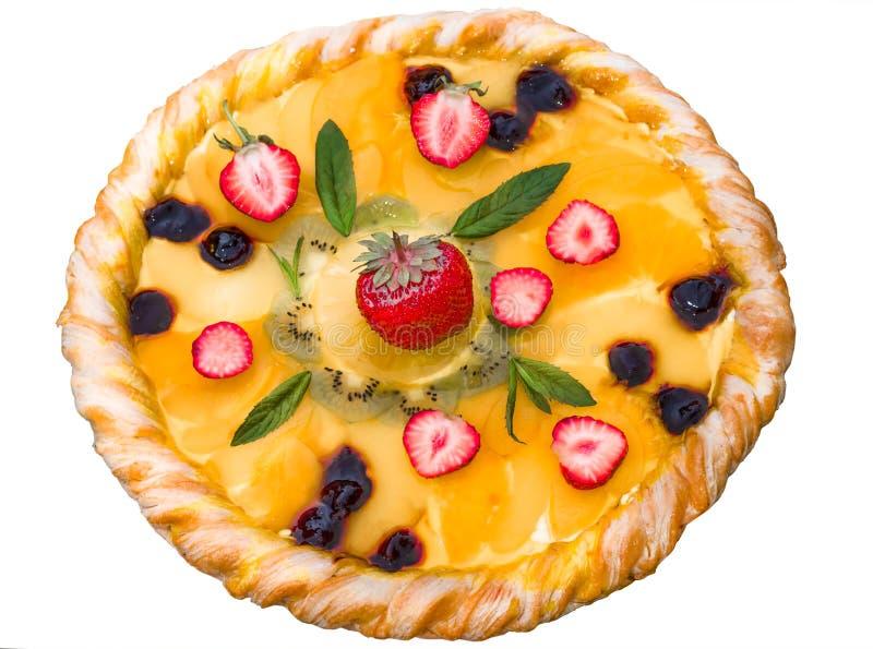 Пицца плодоовощ с ананасом кивиа клубник стоковые фотографии rf