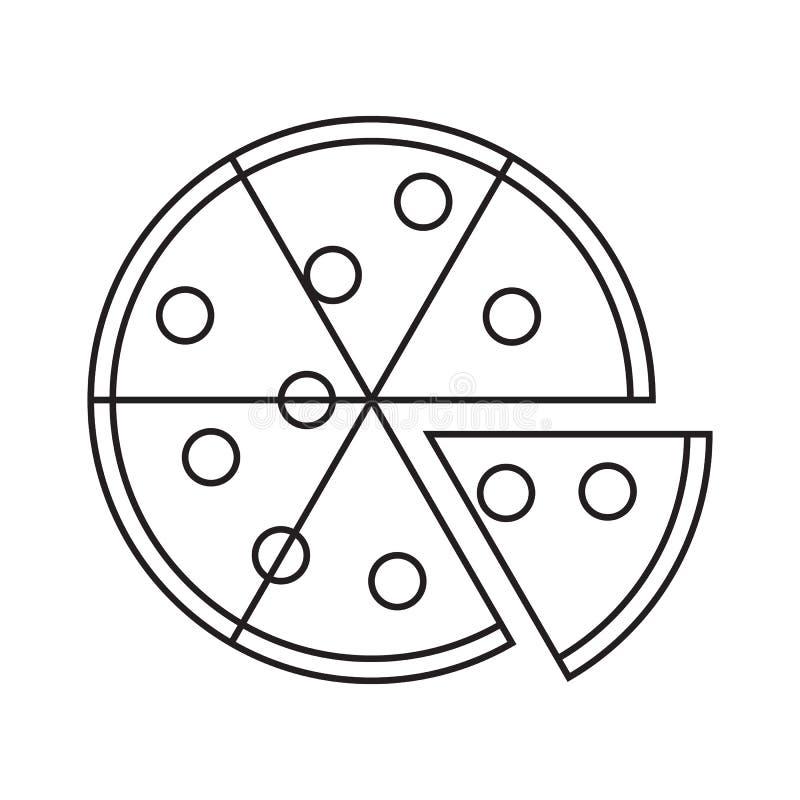 Пицца со значком части куска на белой предпосылке бесплатная иллюстрация
