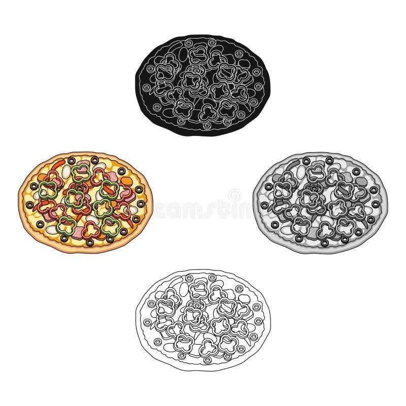 Пицца с мясом, сыром и другой завалкой Значок различной пиццы одиночный в мультфильме, черном запасе символа вектора стиля иллюстрация штока