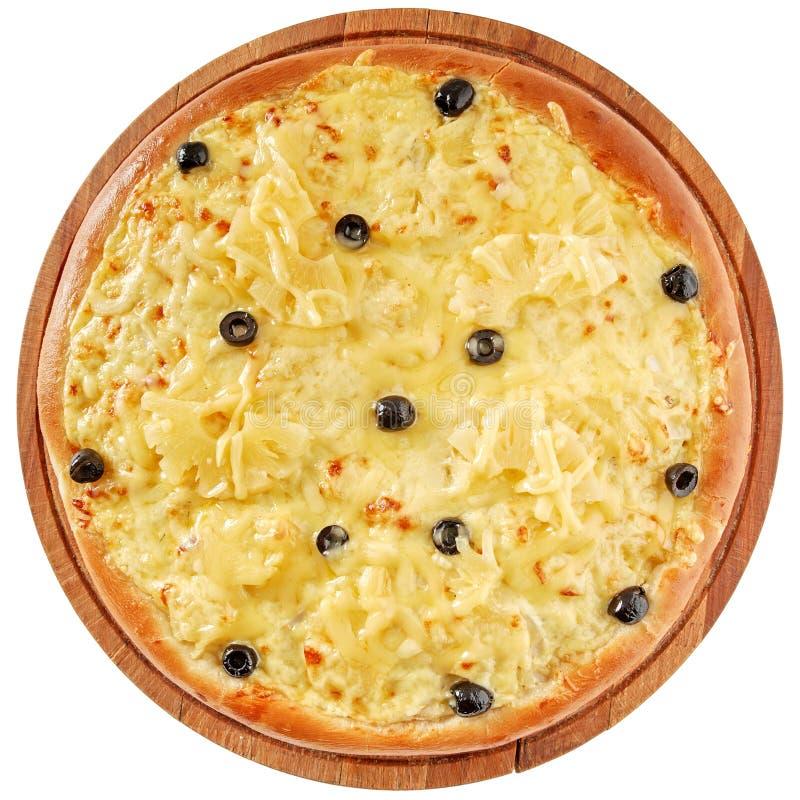 Пицца с цыпленком и ананасом стоковая фотография