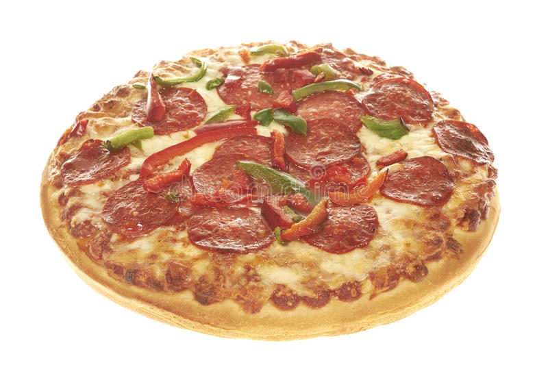 Пицца тарелки Pepperoni глубокая стоковое изображение rf