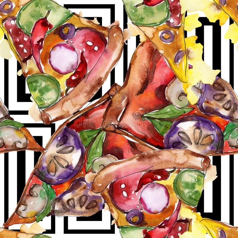 Пицца фаст-фуда itallian в наборе акварели изолированном стилем Картина предпосылки Watercolour безшовная бесплатная иллюстрация