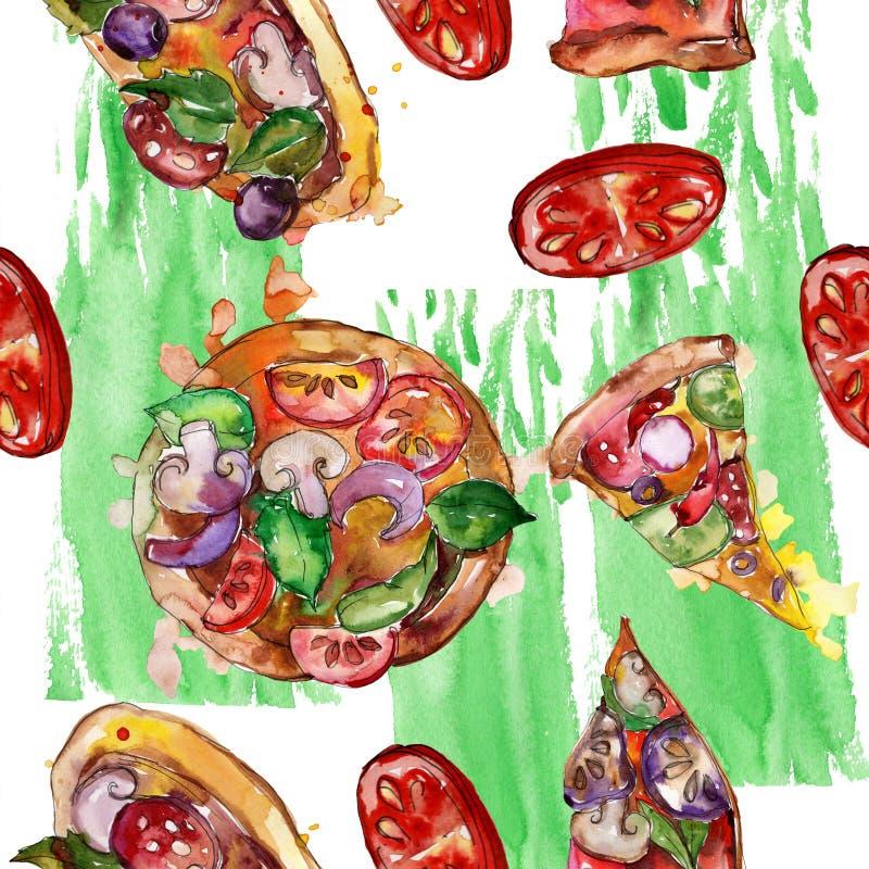 Пицца фаст-фуда itallian в наборе акварели изолированном стилем Картина предпосылки Watercolour безшовная иллюстрация штока
