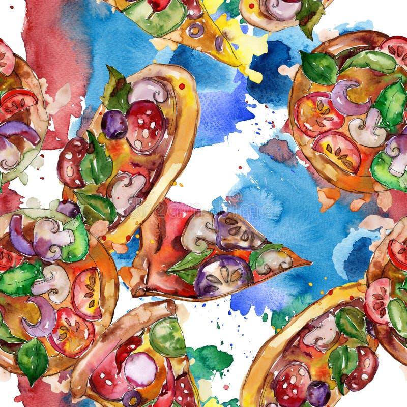Пицца фаст-фуда itallian в наборе акварели изолированном стилем Картина предпосылки Watercolour безшовная иллюстрация вектора