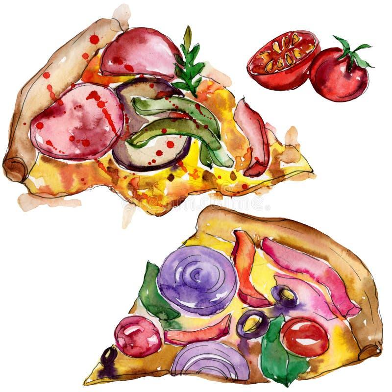 Пицца фаст-фуда itallian в наборе стиля акварели Иллюстрация еды Aquarelle для предпосылки Изолированный элемент пиццы иллюстрация вектора