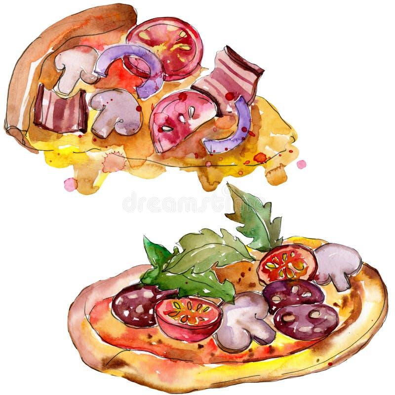 Пицца фаст-фуда itallian в наборе стиля акварели Иллюстрация еды Aquarelle для предпосылки Изолированный элемент пиццы иллюстрация штока