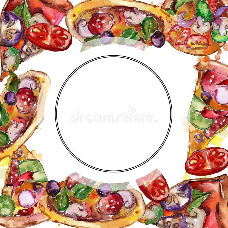 Пицца фаст-фуда itallian в наборе стиля акварели Предпосылка руки Watercolour вычерченная E иллюстрация вектора