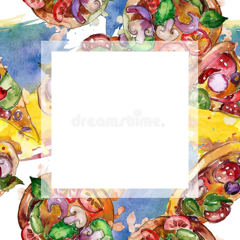 Пицца фаст-фуда itallian в наборе стиля акварели Предпосылка руки Watercolour вычерченная Квадрат орнамента границы рамки иллюстрация вектора