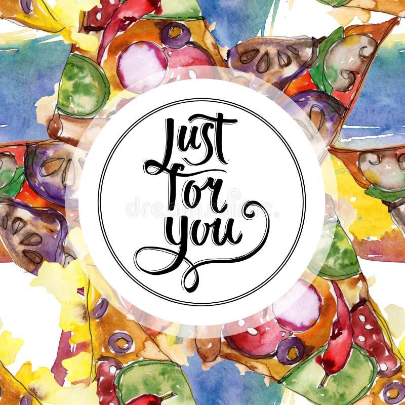 Пицца фаст-фуда itallian в наборе стиля акварели Предпосылка руки Watercolour вычерченная E иллюстрация штока