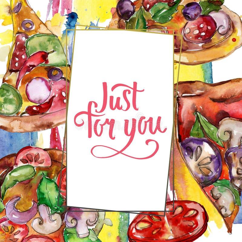 Пицца фаст-фуда itallian в наборе стиля акварели Предпосылка руки Watercolour вычерченная E бесплатная иллюстрация