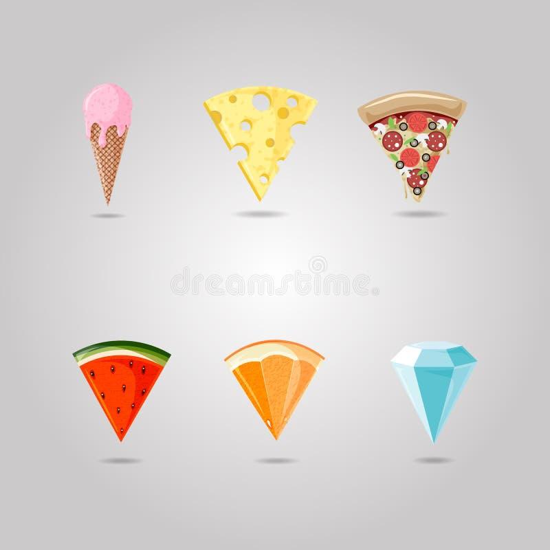 Пицца, цитрус, арбуз, мороженое, диамант, символ сыра указывая на карту Эмблема магазина набор положения пункта бесплатная иллюстрация
