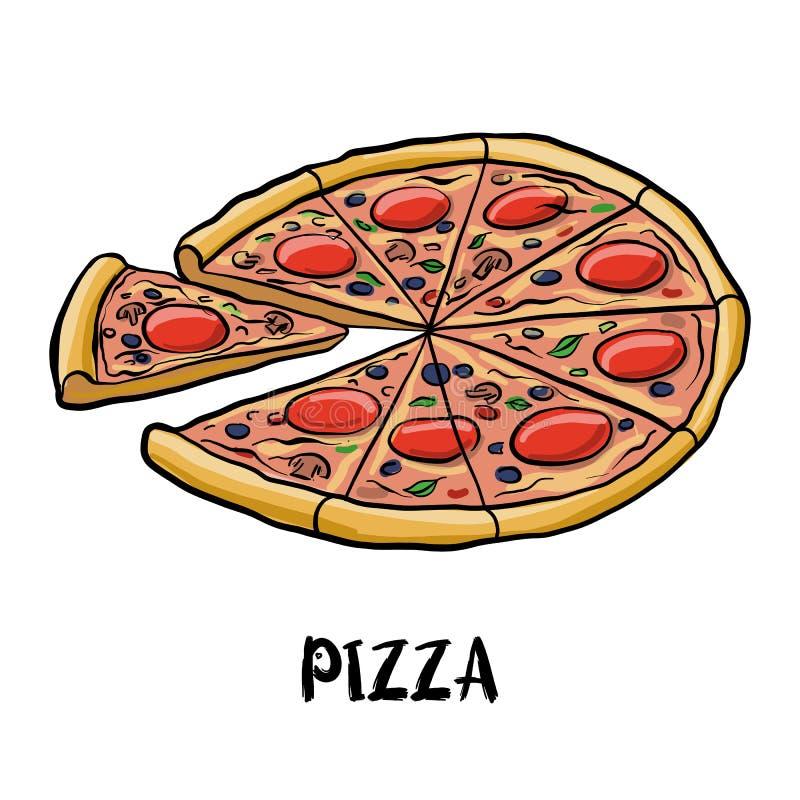 Пицца чертежа вектора бесплатная иллюстрация