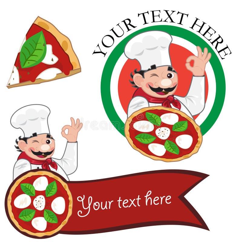 пицца italiano шеф-повара иллюстрация штока