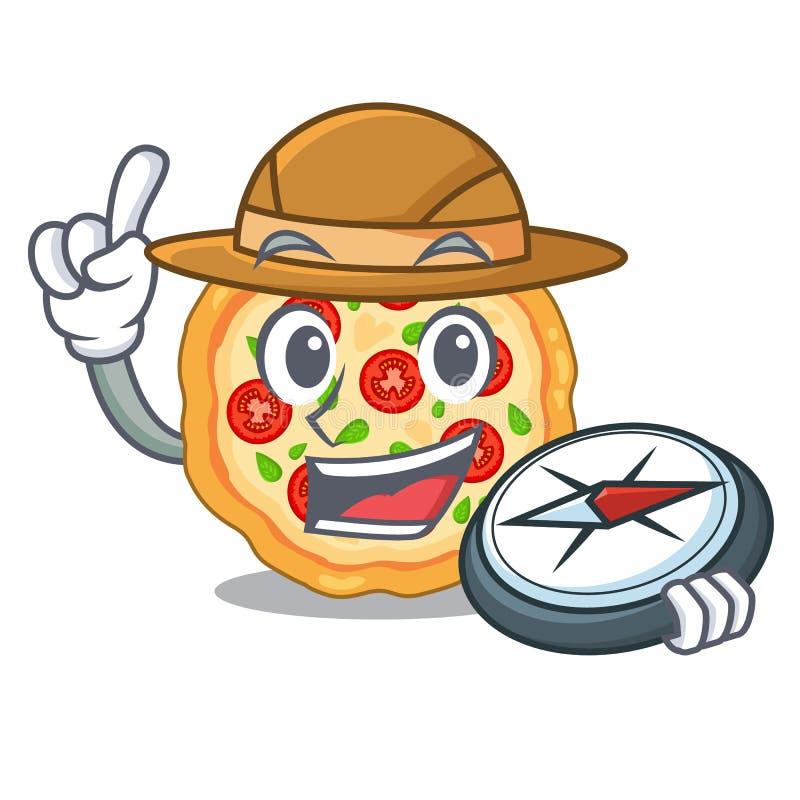 Пицца margherita исследователя изолированная с мультфильмами бесплатная иллюстрация