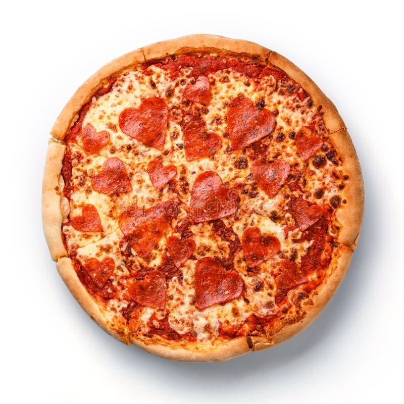 Пицца Pepperoni сердца отрезанная формой стоковое фото rf