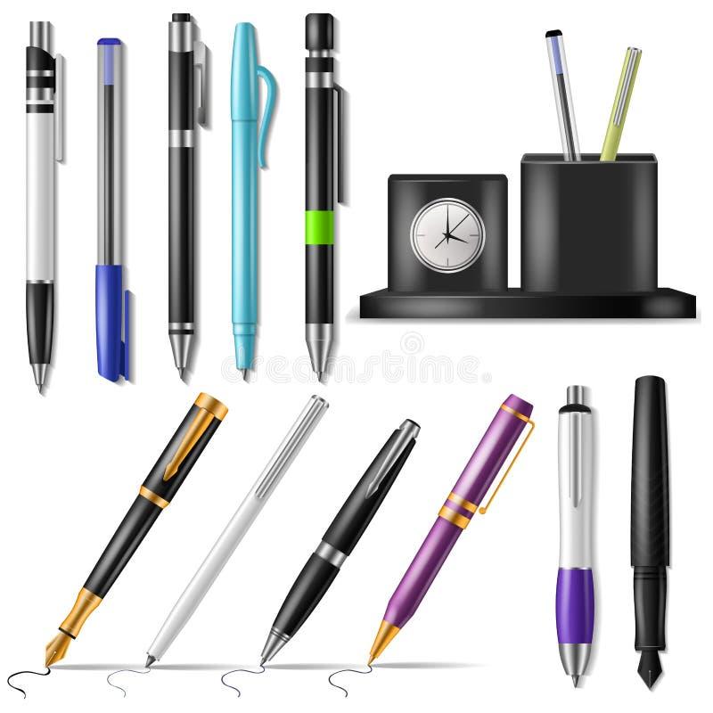 Пишите чернила авторучки офиса вектора или шариковой авторучки дела и знак комплекта иллюстрации письменных принадлежностей канце иллюстрация штока