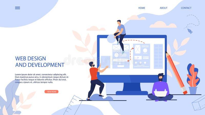 Пишут знамени веб-дизайн и развитие иллюстрация штока