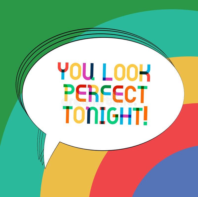 Пишущ показу примечания вас выглядите идеальным сегодняшним вечером Благодарность красоты фото дела showcasing Flirting roanalysi иллюстрация штока