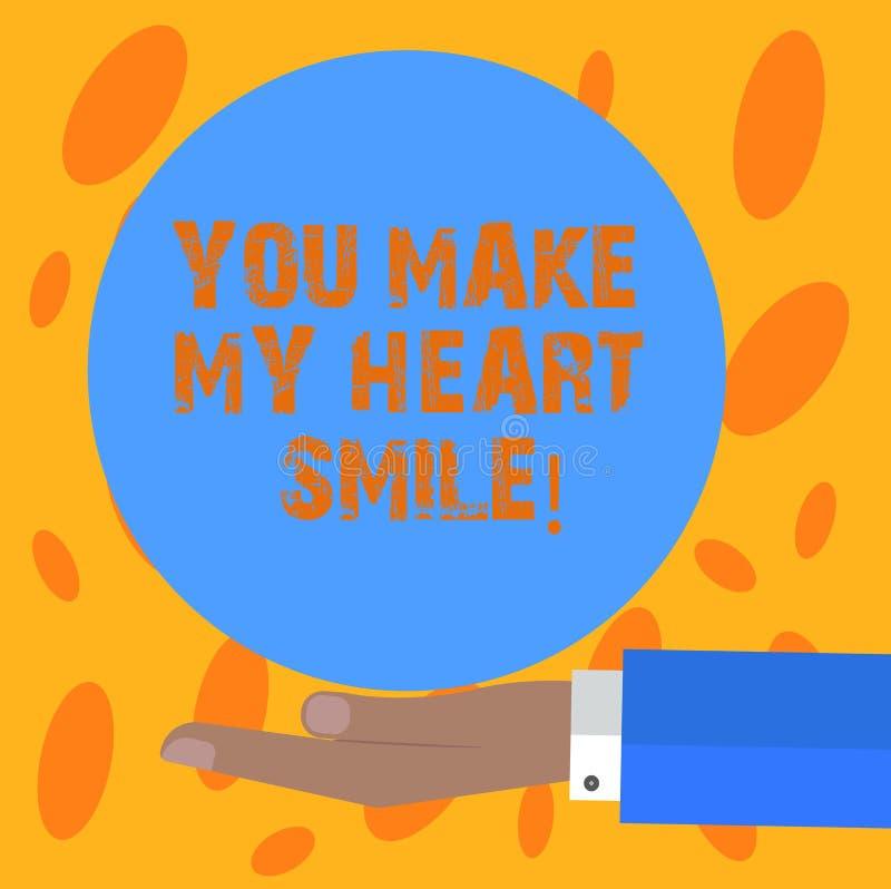 Пишущ показу примечания вас сделайте мою улыбку сердца Фото дела showcasing выражающ эмоции roanalysistic чувств хорошие иллюстрация вектора