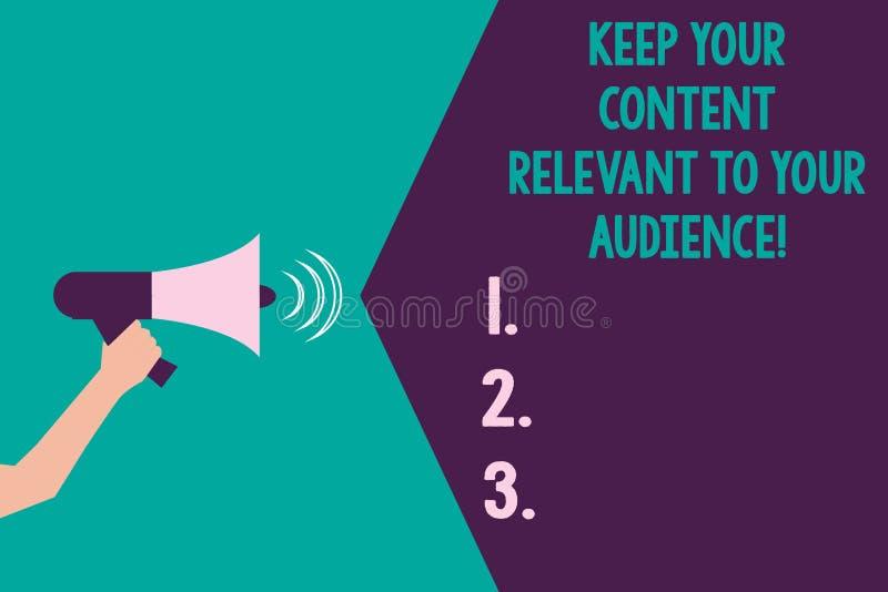 Пишущ показ примечания держите ваше содержание уместный к вашей аудитории Фото дела showcasing хорошие маркетинговые стратегии Hu иллюстрация вектора