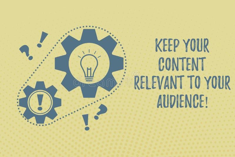 Пишущ показ примечания держите ваше содержание уместный к вашей аудитории Фото дела showcasing хорошие маркетинговые стратегии иллюстрация вектора