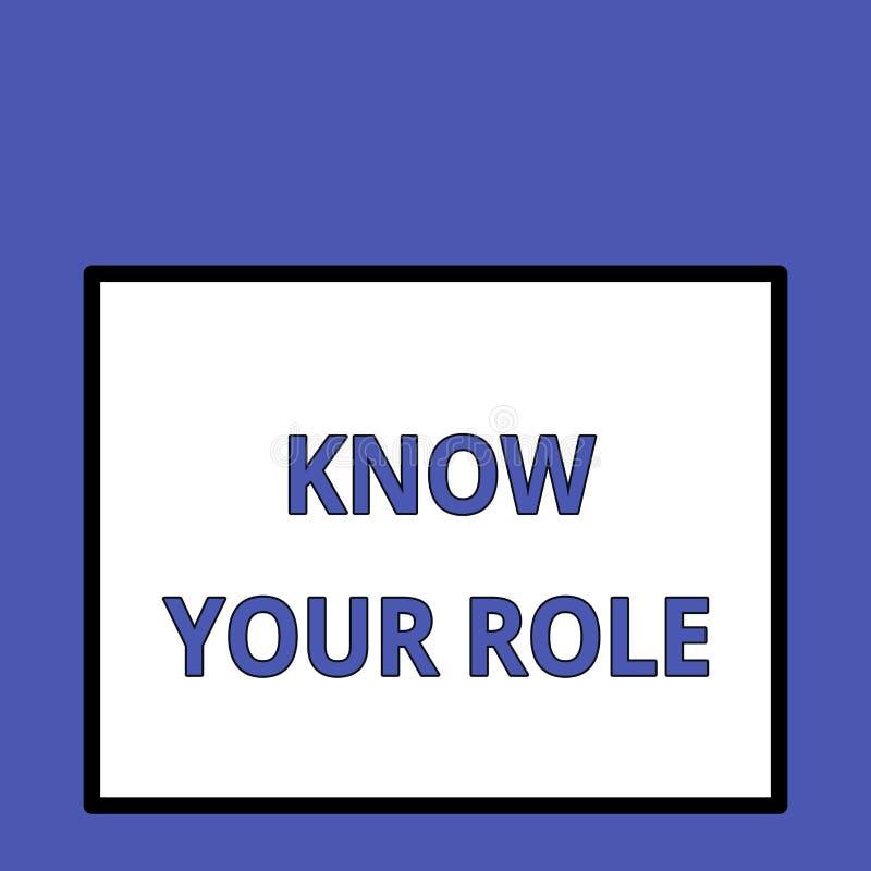 Пишущ показ примечания знайте вашу роль Конец фото дела showcasing действующий вне кого вы фактически игра ваша иллюстрация штока