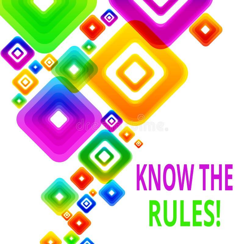 Пишущ показ примечания знайте правила Набор фото дела showcasing точный или регулированные принципы управляя проведением иллюстрация вектора