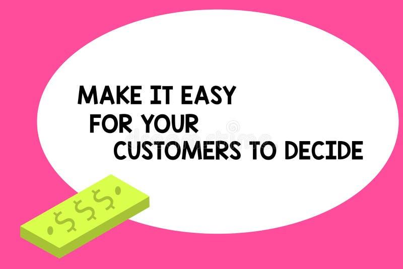 Пишущ показ примечания сделайте его легкий для ваших клиентов решить Showcasing фото дела дает клиентам хороший блок особенных ва иллюстрация вектора