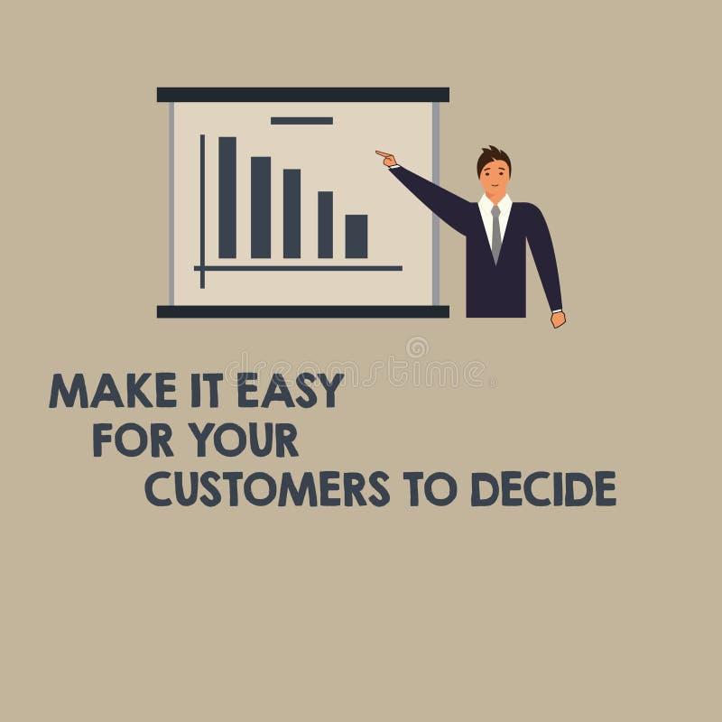 Пишущ показ примечания сделайте его легкий для ваших клиентов решить Showcasing фото дела дает клиентов хорошие особенные вариант иллюстрация вектора
