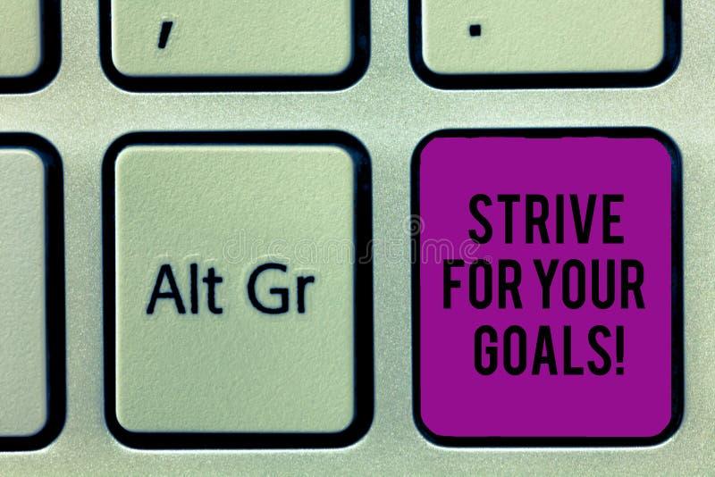 Пишущ показ примечания устремитесь для ваших целей Бой фото дела showcasing для вашей мотивации успеха принять действие стоковое изображение rf