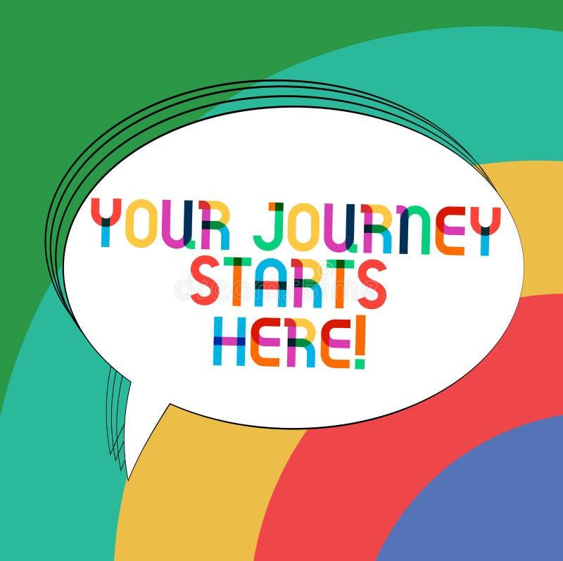 Пишущ примечание показывая ваши начала путешествием здесь Мотивация фото дела showcasing для начала овала воодушевленности дела иллюстрация штока