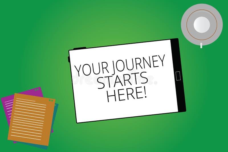 Пишущ примечание показывая ваши начала путешествием здесь Мотивация фото дела showcasing для начала планшета воодушевленности дел бесплатная иллюстрация