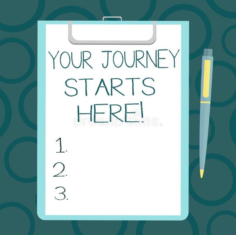 Пишущ примечание показывая ваши начала путешествием здесь Мотивация фото дела showcasing для начала листа воодушевленности дела  бесплатная иллюстрация