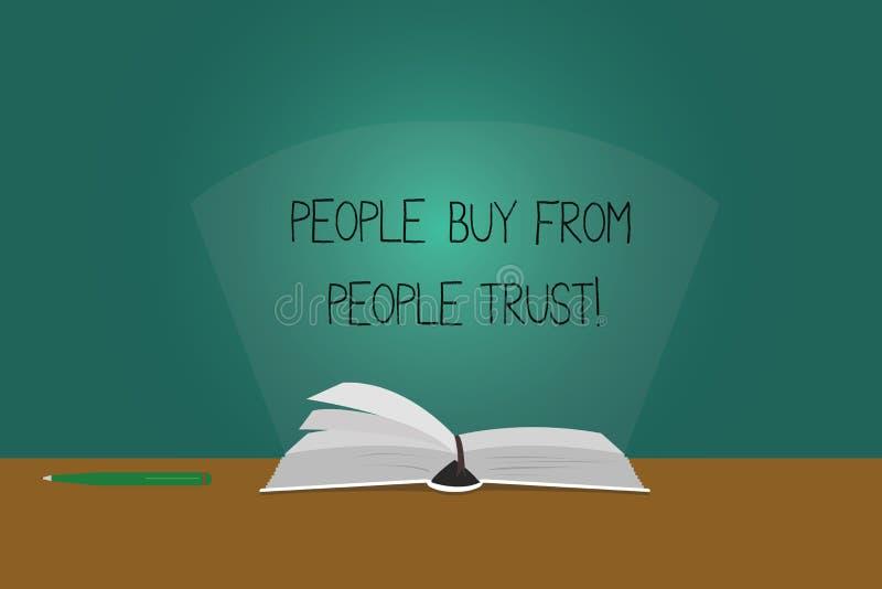 Пишущ примечание показывая людей для покупки от людей они доверяют доверию и клиенту фото дела showcasing строя иллюстрация вектора