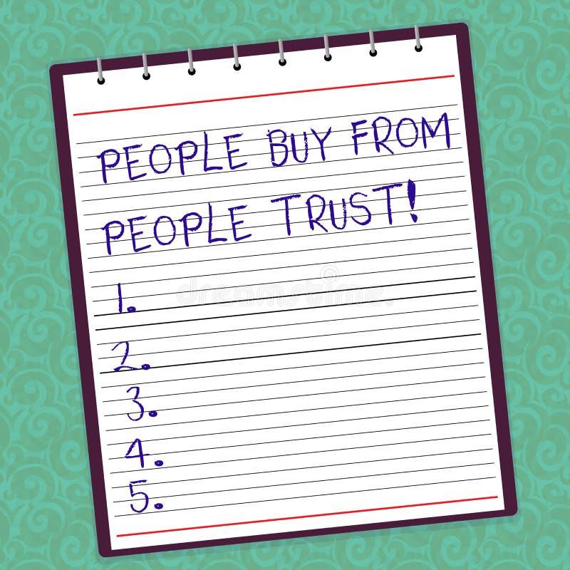 Пишущ примечание показывая людей для покупки от людей они доверяют доверию и клиенту фото дела showcasing строя бесплатная иллюстрация