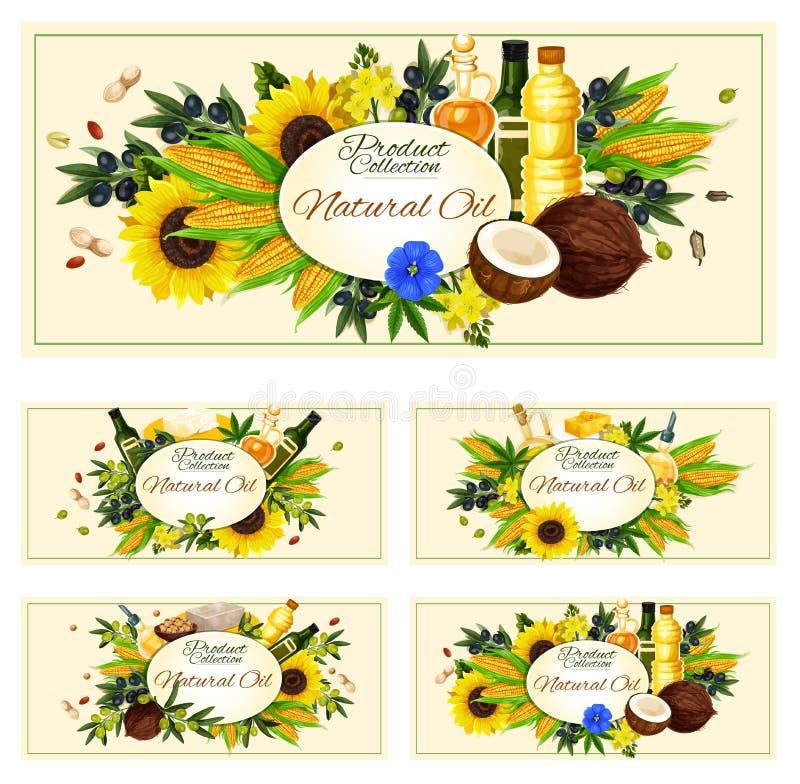Пищевое масло вектора прованских семян подсолнуха объявления иллюстрация штока