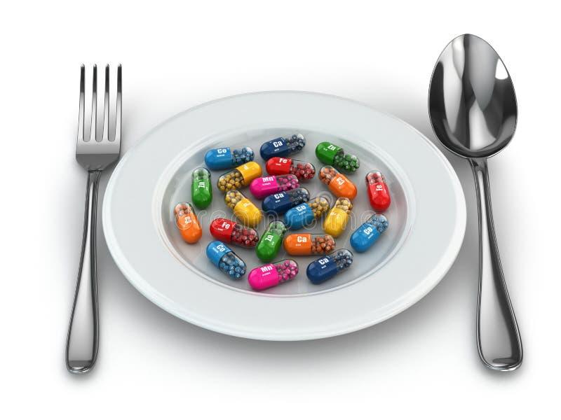 Пищевые добавки. Пилюльки разнообразия. Капсулы витамина на плите. бесплатная иллюстрация