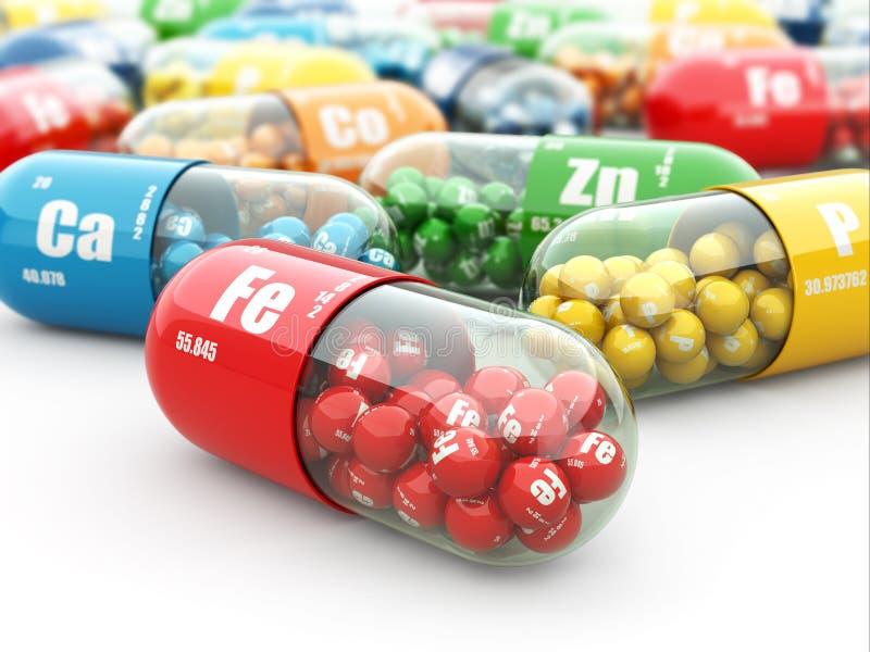 Пищевые добавки. Пилюльки разнообразия. Капсулы витамина. иллюстрация вектора