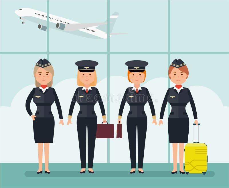 Пилоты и стюардессы женщин Иллюстрация вектора в плоском стиле иллюстрация штока