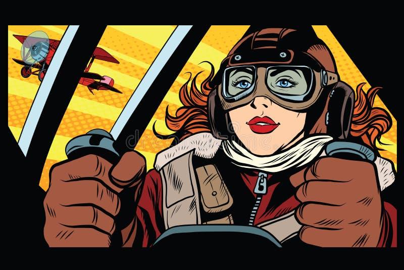Пилот девушки ретро воинский иллюстрация вектора