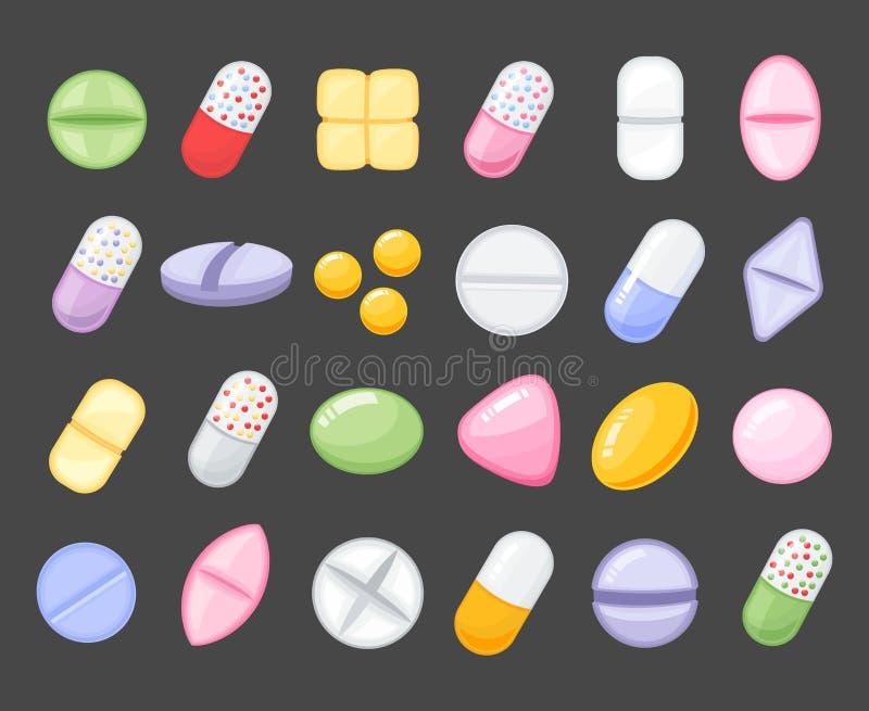 Пилюлька шаржа медицины, лекарство, таблица, антибиотики, значки стиля шаржа дозы лекарства плоские иллюстрация вектора